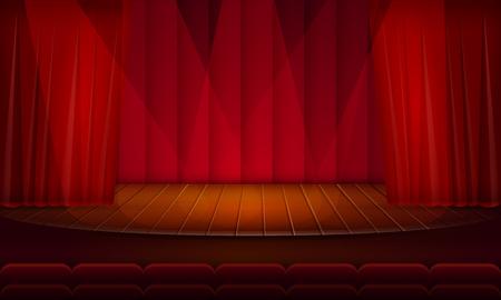 Illustration for cartoon empty theatrical scene, vector illustration - Royalty Free Image