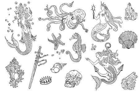 Ilustración de Vintage fantasy nautical set: long haired mermaid, underwater treasures, octopus, shell, starfish, anchor, drowned sword, crown, skull, crystal, sea horse. Hand drawn tattoo style vector illustration. - Imagen libre de derechos
