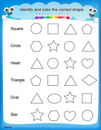 Identify and color the correct shape colorful printable kids worksheet for pre school/ kindergarten kids