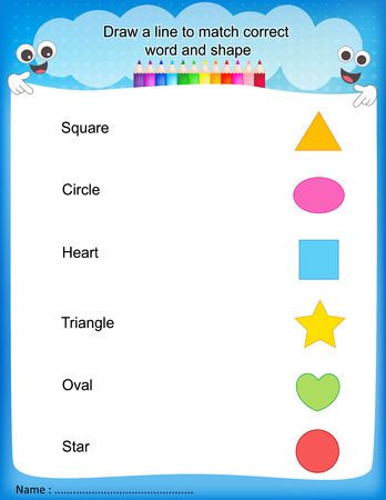 Draw a line to match correct word and shape colorful printable kids worksheet for pre school/ kindergarten kids