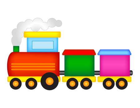 Illustration pour Illustration of a colorful toy train isolated on white background - image libre de droit