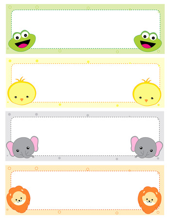Cute animal kids name tags with beautiful animal faces on corners