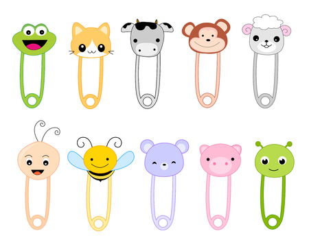 Cute safetu pin collection with animal faces isolated on white.