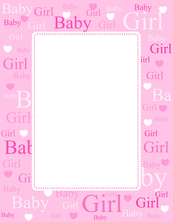 Illustration for Cute pink frame / border with baby girl text and hearts - Royalty Free Image