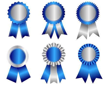 Illustration pour Collection of different shaped blank award ribbon rosettes in blue and silver  isolated on white. - image libre de droit