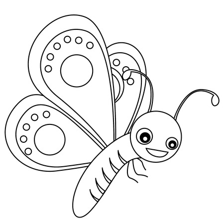Cute outlined butterfly printable graphic for pre school kids ...