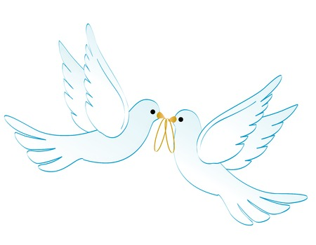 Illustration pour Illustration of two white pigeons / doves carrying two golden rings isolated on white background - image libre de droit
