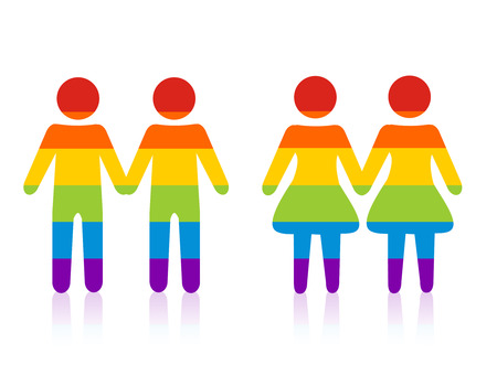 Photo pour Gay male & female couple silhouette.colorful people holding hands - image libre de droit