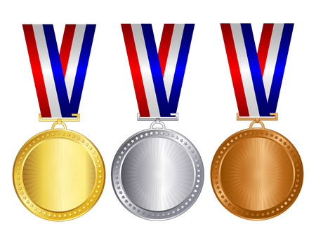 Gold silver and bronze medals with red blue and silver / white ribbons and empty space inside for 1st 2nd and 3rd place winners