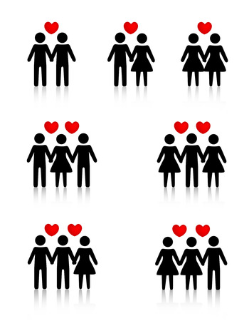 Clipart collection representing human love / sexual relationships