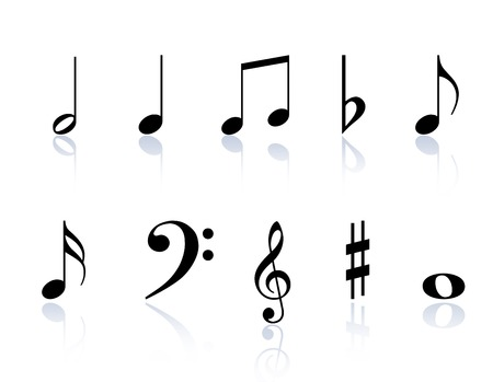 Black Music notes and symbols isolated on a White background