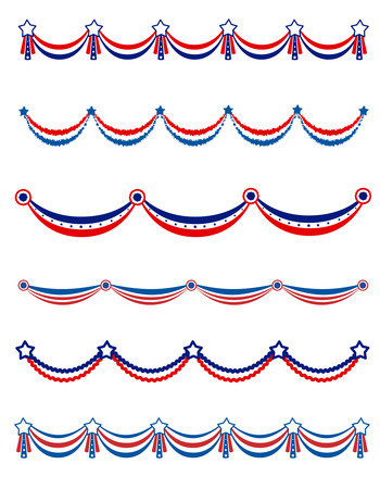 Patriotic , National day border / frames / bunting collection for USA
