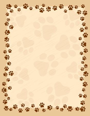Dog paw prints border / frame on brown grunge background