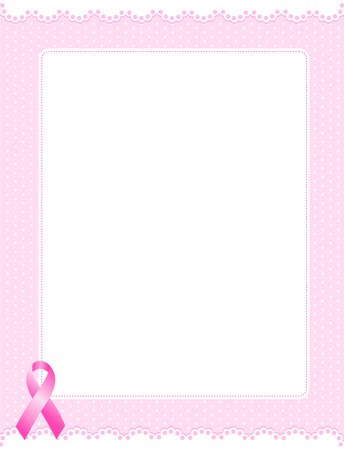 White lace frame with polka dot pattern and empty white space on center and pink ribbon on bottom corner