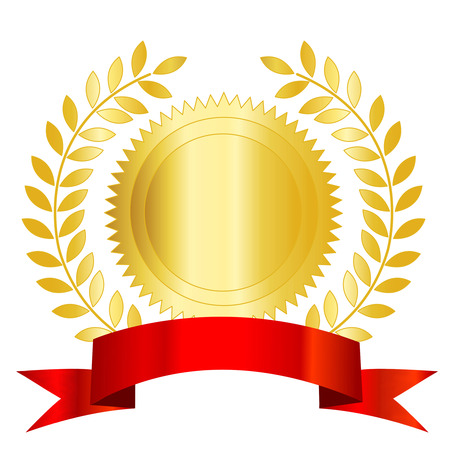 Isolated illustration of a gold seal and red ribbon with laurel empty space to add your own text inside.