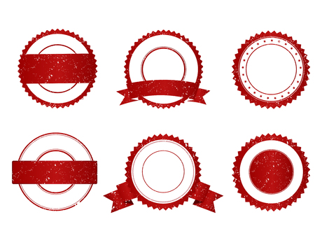 Illustration pour Collection of elegant red and white grunge empty stamps/ seals - image libre de droit