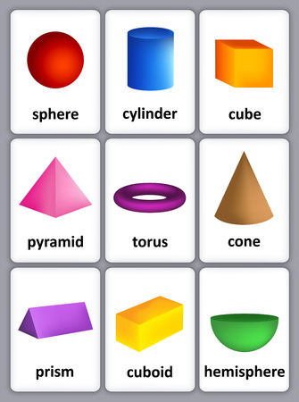 Ilustración de Printable card sheet of a collection of colorful 3D shapes with their correct name for kindergarten / preschool kids - Imagen libre de derechos