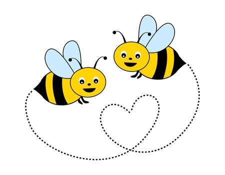 Illustration pour Cute little bees isolated on white background illustration - image libre de droit