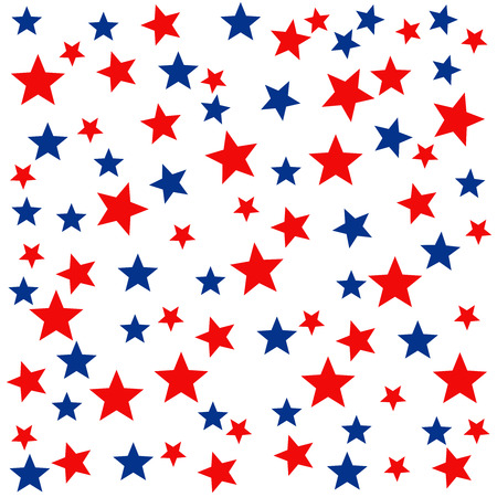 Illustration pour Patriotic seamless pattern with red, white, blue stars. . 4th of July. Wrapping paper. - image libre de droit