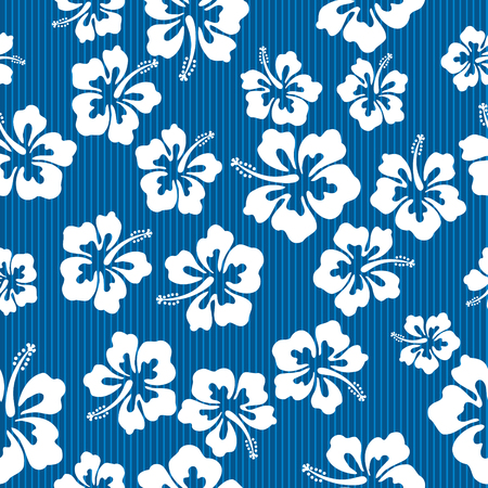Illustration for Seamless repeat pattern with hibiscus flowers - Royalty Free Image