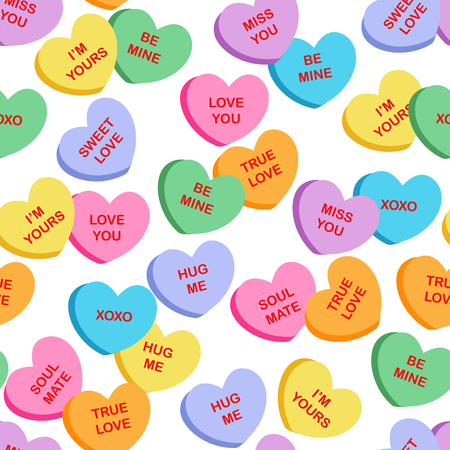 Illustration for Seamless heart candy fabric / textile pattern for Valentine's Day with candies different color in the shape of hearts on a light background - Royalty Free Image