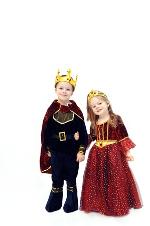 Little girl and boy are wearing Halloween costumes