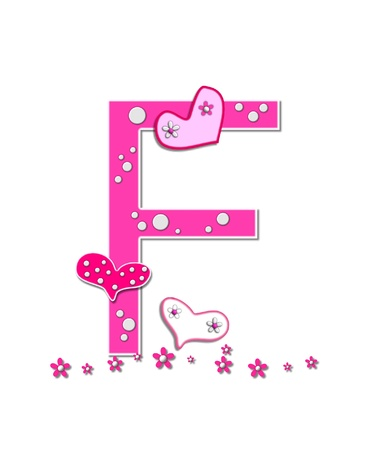 The letter F, in the alphabet set Heartfull, is pink outlined with white   Polka dots and hearts decorate letter with a line of pink flowers at the bottom