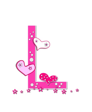 The letter L, in the alphabet set Heartfull, is pink outlined with white   Polka dots and hearts decorate letter with a line of pink flowers at the bottom