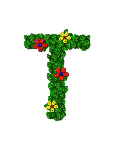 The letter T, in the alphabet set Landscaping, is covered with 3D leaves.  Red and yellow flowers bloom in cluster of leaves.  Background is white.