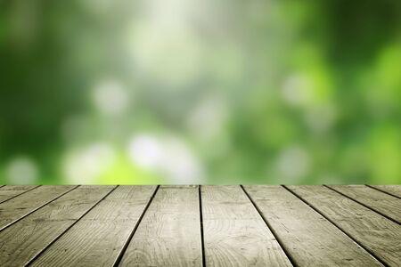 Photo pour Empty wooden and blur green background. - image libre de droit