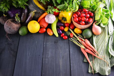 Photo for Fresh vegetables on wooden, Food background. - Royalty Free Image