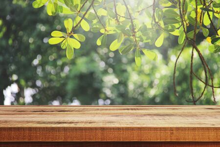 Foto de Wooden table and blur garden background. - Imagen libre de derechos