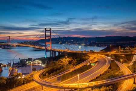 Night scenes of Tsing Ma Bridge,Hong Kong