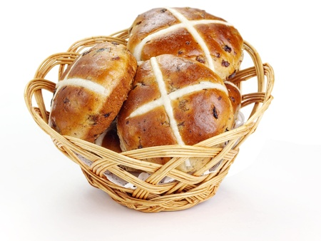 Cross buns  Basket with fresh hot cross buns