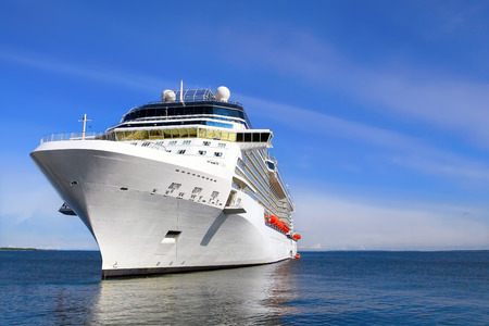 Photo for Luxury Cruise Ship Sailing to Port - Royalty Free Image