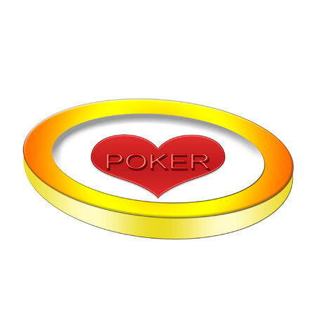 poker chip with a bright red heart on it