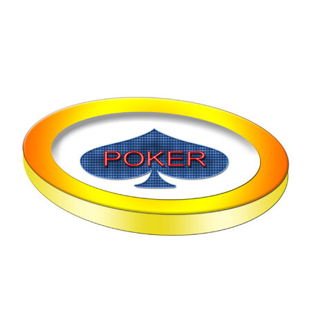 A large poker chip with a bright blue spade on it