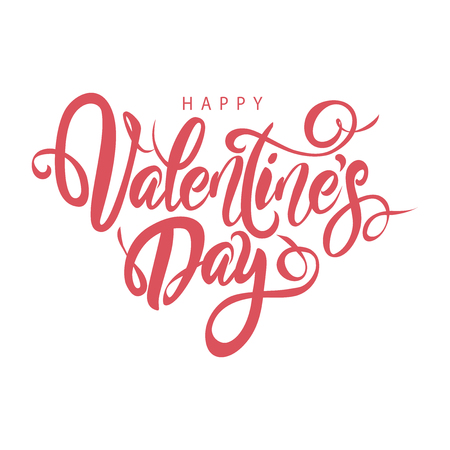 Illustration pour Happy Valentine's Day lovely hand drawn brush lettering, isolated on white background. Perfect for holiday flat design. Vector illustration. - image libre de droit