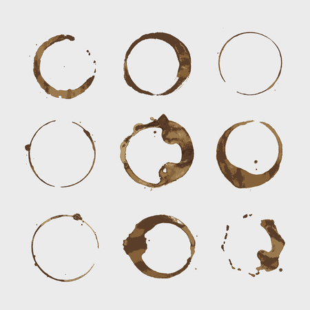 Illustration for Vector coffee stains cup rings set. Isolated On White Background for Grunge Design - Royalty Free Image