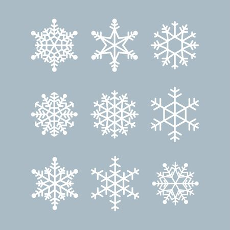 Illustration pour Collection of winter snowflakes. Vector icons for christmas and new year illustrations. Graphic modern white crystal - image libre de droit