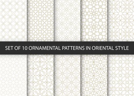 Illustration pour Collection of 10 oriental patterns. White and gold background with Arabic ornaments. Patterns, backgrounds and wallpapers for your design. Textile ornament. Vector illustration. - image libre de droit