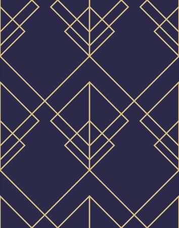 Ilustración de Geometric abstract ornamental pattern. Seamless vector background. Dark blue and gold texture. Graphic modern pattern - Imagen libre de derechos