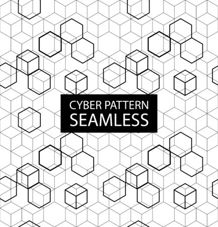 Illustration pour Seamless gray electronic pattern. Vector illustration with hexagones in high-tech style. Cyber texture - image libre de droit