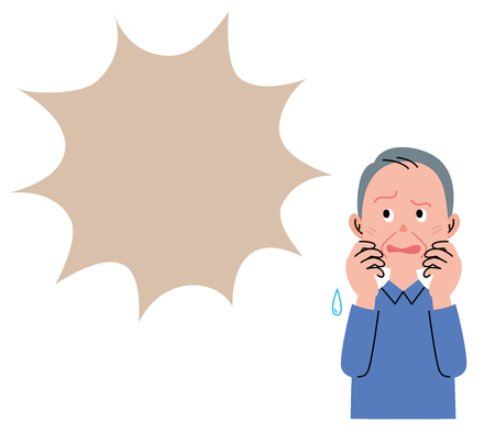 Illustration for The old man who it seems to be afraid, and looks up at a speech bubble. - Royalty Free Image