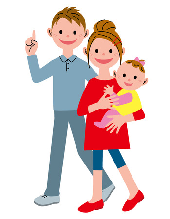 Illustration for Walking young couple and baby - Royalty Free Image