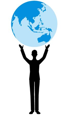 Illustration pour The silhouette of the people and the earth - image libre de droit