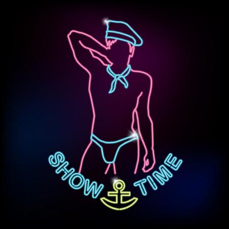 Ilustración de Show time neon sign with silhouette of sailor man - Imagen libre de derechos