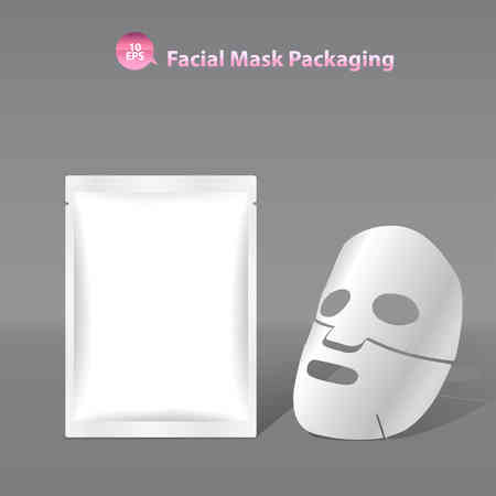 Illustration for Paper facial mask for cosmetics and Sachet Packaging - Royalty Free Image