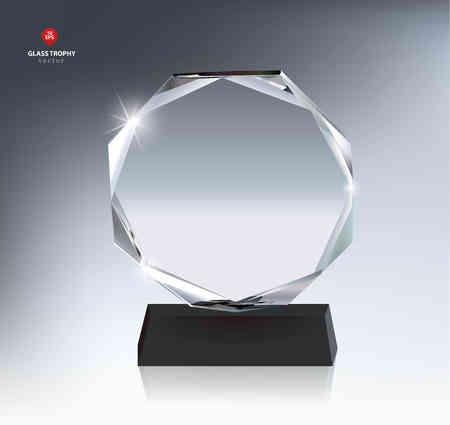 Illustration pour Realistic Blank Glass Trophy Award - image libre de droit