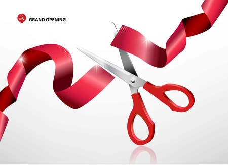 Illustration pour Grand opening with red ribbon and scissors - image libre de droit